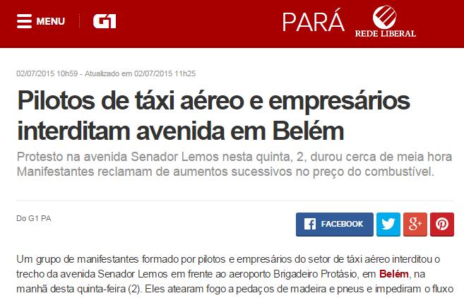 G1 Pará - Protesto táxi aéreo